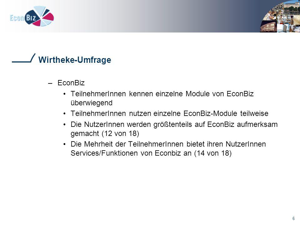 6 –EconBiz TeilnehmerInnen kennen einzelne Module von EconBiz überwiegend TeilnehmerInnen nutzen einzelne EconBiz-Module teilweise Die NutzerInnen werden größtenteils auf EconBiz aufmerksam gemacht (12 von 18) Die Mehrheit der TeilnehmerInnen bietet ihren NutzerInnen Services/Funktionen von Econbiz an (14 von 18)
