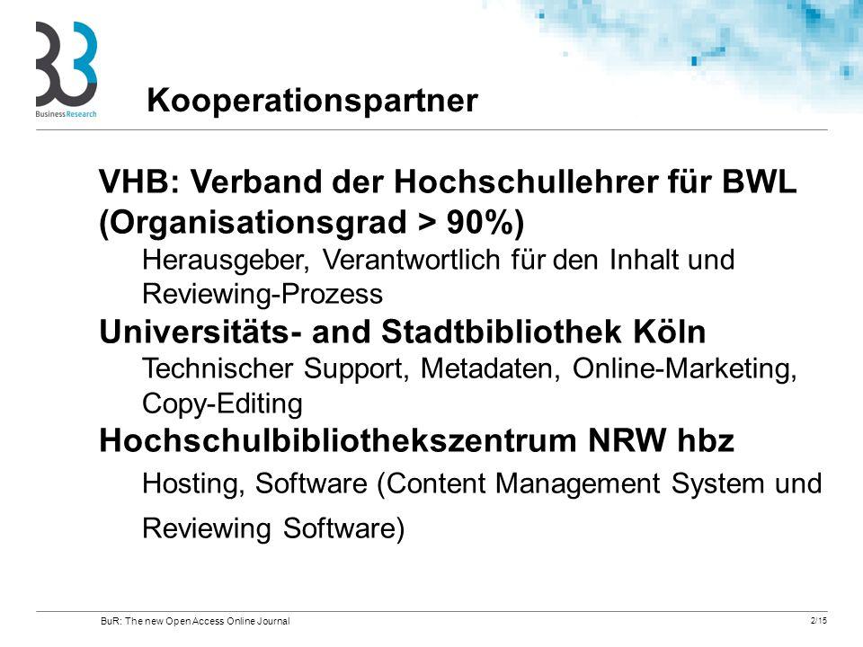 2/15 VHB: Verband der Hochschullehrer für BWL (Organisationsgrad > 90%) Herausgeber, Verantwortlich für den Inhalt und Reviewing-Prozess Universitäts-