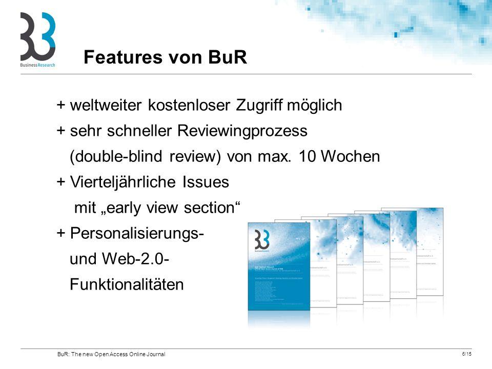 6/15 + weltweiter kostenloser Zugriff möglich + sehr schneller Reviewingprozess (double-blind review) von max. 10 Wochen + Vierteljährliche Issues mit