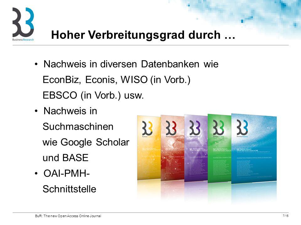 7/15 Nachweis in diversen Datenbanken wie EconBiz, Econis, WISO (in Vorb.) EBSCO (in Vorb.) usw. Nachweis in Suchmaschinen wie Google Scholar und BASE