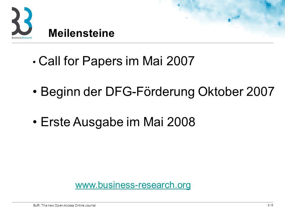 9/15 Call for Papers im Mai 2007 Beginn der DFG-Förderung Oktober 2007 Erste Ausgabe im Mai 2008 www.business-research.org Meilensteine BuR: The new O