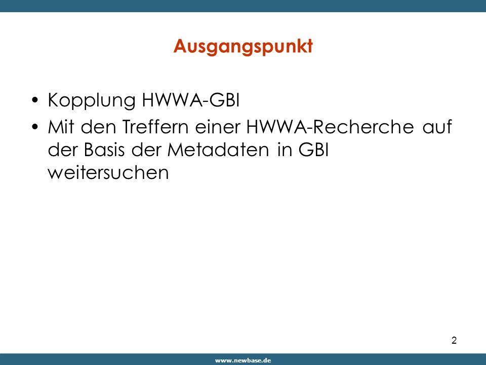 www.newbase.de 2 Ausgangspunkt Kopplung HWWA-GBI Mit den Treffern einer HWWA-Recherche auf der Basis der Metadaten in GBI weitersuchen