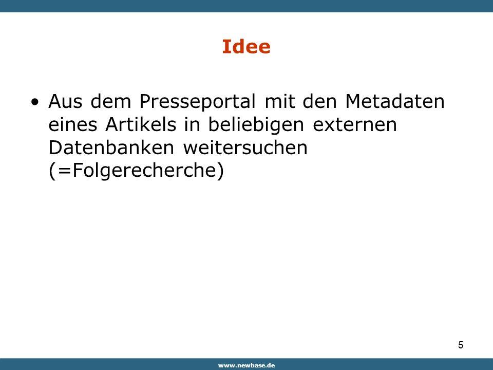 5 Idee Aus dem Presseportal mit den Metadaten eines Artikels in beliebigen externen Datenbanken weitersuchen (=Folgerecherche)