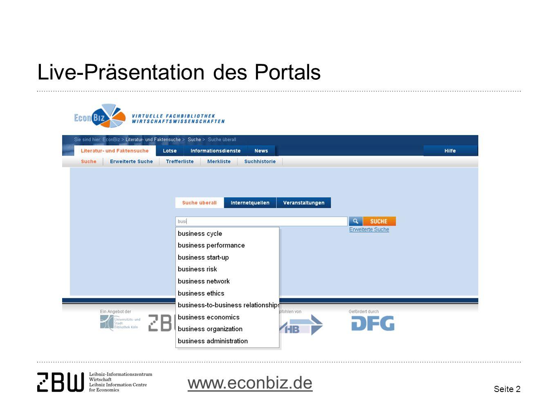 Seite 2 Live-Präsentation des Portals www.econbiz.de