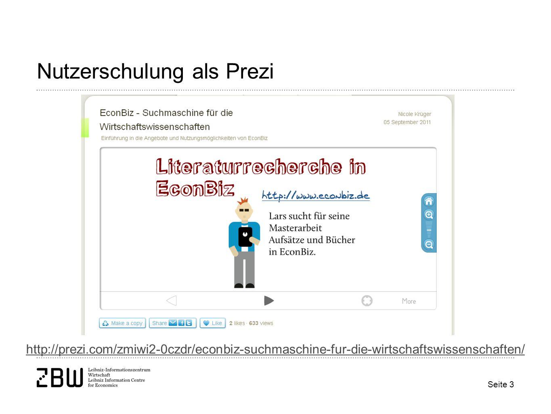 Seite 3 Nutzerschulung als Prezi http://prezi.com/zmiwi2-0czdr/econbiz-suchmaschine-fur-die-wirtschaftswissenschaften/