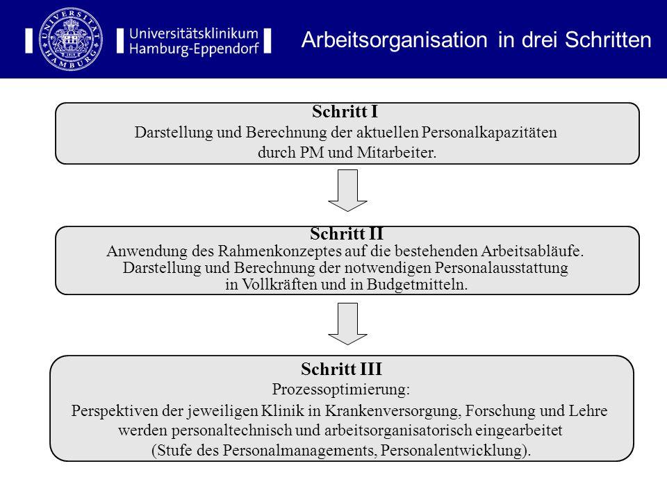 Arbeitsorganisation in drei Schritten Schritt I Darstellung und Berechnung der aktuellen Personalkapazitäten durch PM und Mitarbeiter.