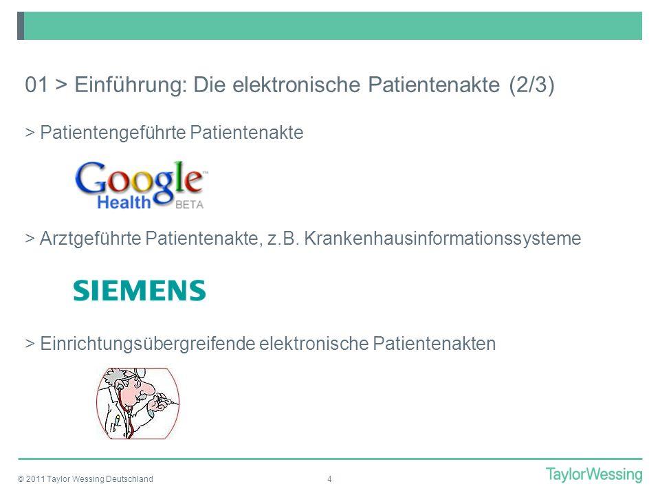 © 2011 Taylor Wessing Deutschland4 01 > Einführung: Die elektronische Patientenakte (2/3) >Patientengeführte Patientenakte >Arztgeführte Patientenakte