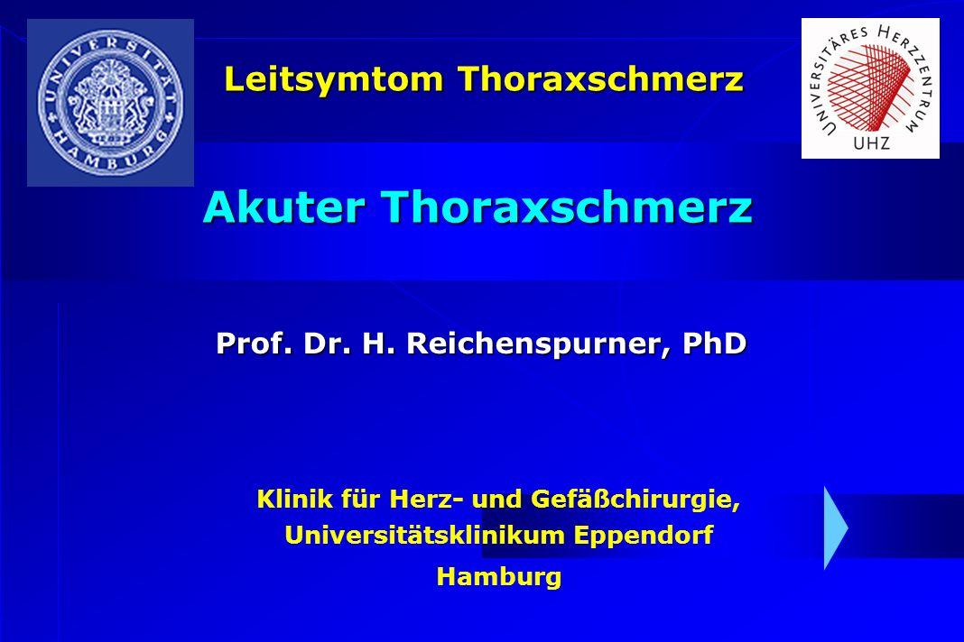 Klinik für Herz- und Gefäßchirurgie, Universitätsklinikum Eppendorf Hamburg Akuter Thoraxschmerz Prof. Dr. H. Reichenspurner, PhD Leitsymtom Thoraxsch