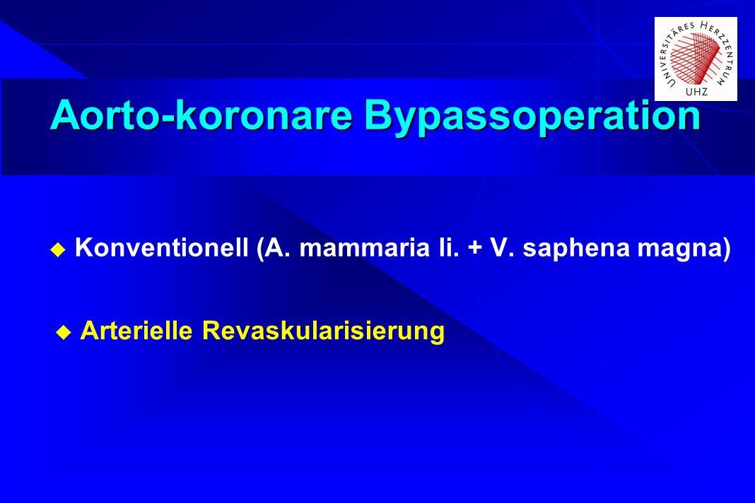 Aorto-koronare Bypassoperation Konventionell (A. mammaria li. + V. saphena magna) Arterielle Revaskularisierung