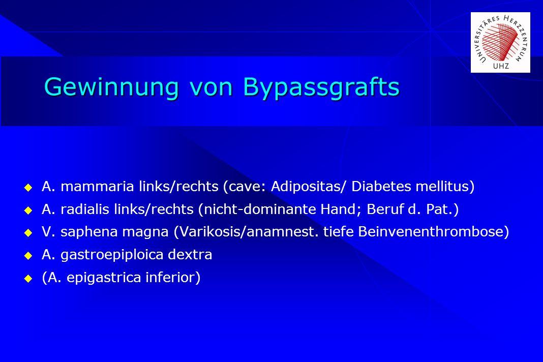 Gewinnung von Bypassgrafts A. mammaria links/rechts (cave: Adipositas/ Diabetes mellitus) A. radialis links/rechts (nicht-dominante Hand; Beruf d. Pat