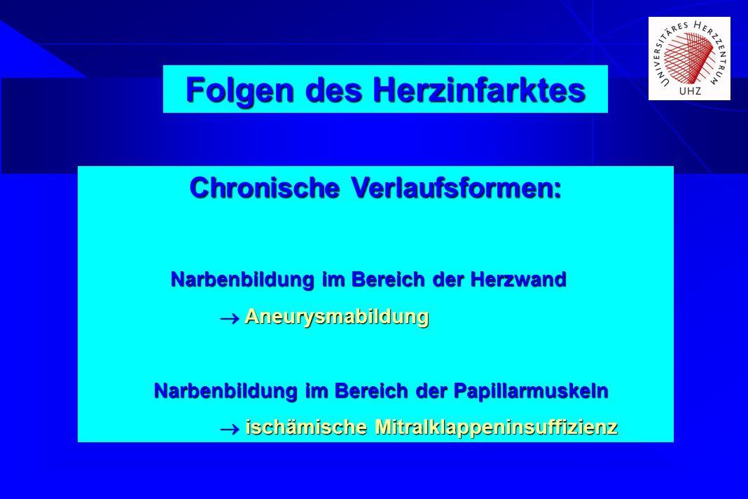 Chronische Verlaufsformen: Narbenbildung im Bereich der Herzwand Narbenbildung im Bereich der Herzwand Aneurysmabildung Aneurysmabildung Narbenbildung