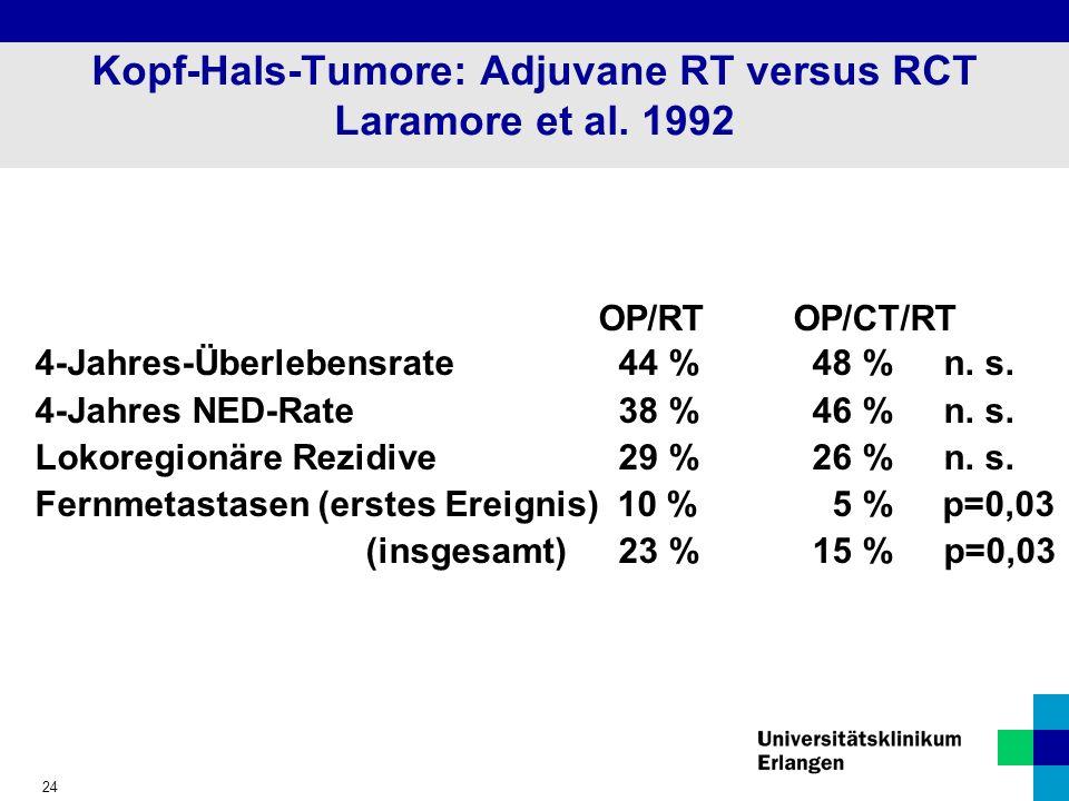 24 Kopf-Hals-Tumore: Adjuvane RT versus RCT Laramore et al.