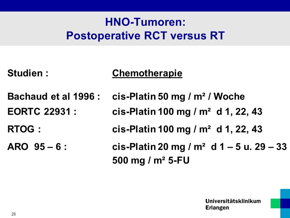 28 HNO-Tumoren: Postoperative RCT versus RT Studien :Chemotherapie Bachaud et al 1996 :cis-Platin 50 mg / m² / Woche EORTC 22931 :cis-Platin 100 mg / m² d 1, 22, 43 RTOG :cis-Platin 100 mg / m² d 1, 22, 43 ARO 95 – 6 :cis-Platin 20 mg / m² d 1 – 5 u.