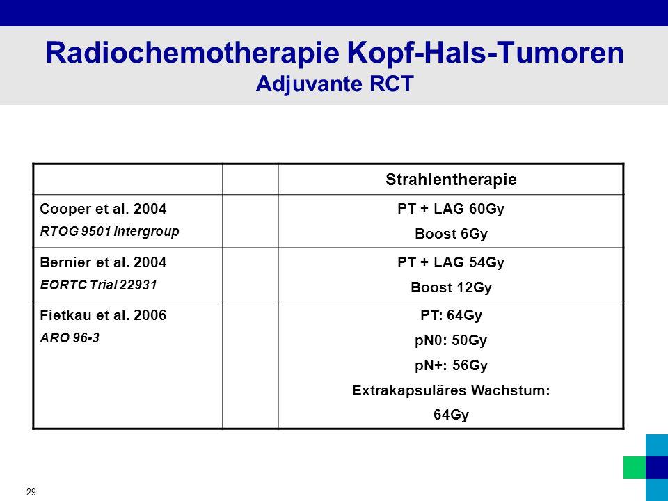 29 Radiochemotherapie Kopf-Hals-Tumoren Adjuvante RCT Strahlentherapie Cooper et al.