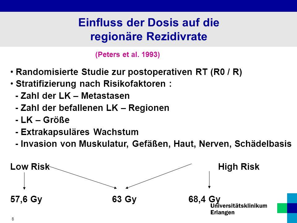 8 Einfluss der Dosis auf die regionäre Rezidivrate (Peters et al.