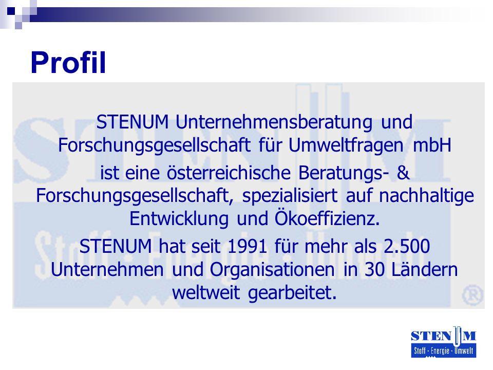 Profil STENUM Unternehmensberatung und Forschungsgesellschaft für Umweltfragen mbH ist eine österreichische Beratungs- & Forschungsgesellschaft, spezialisiert auf nachhaltige Entwicklung und Ökoeffizienz.