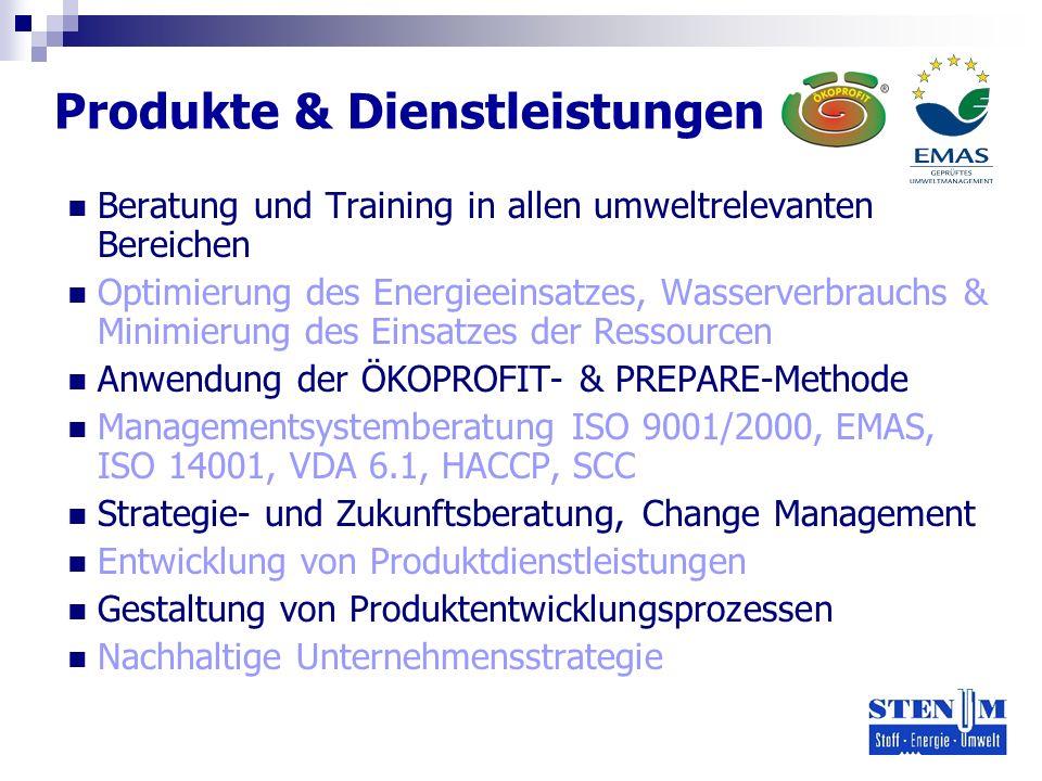 Produkte & Dienstleistungen Beratung und Training in allen umweltrelevanten Bereichen Optimierung des Energieeinsatzes, Wasserverbrauchs & Minimierung des Einsatzes der Ressourcen Anwendung der ÖKOPROFIT- & PREPARE-Methode Managementsystemberatung ISO 9001/2000, EMAS, ISO 14001, VDA 6.1, HACCP, SCC Strategie- und Zukunftsberatung, Change Management Entwicklung von Produktdienstleistungen Gestaltung von Produktentwicklungsprozessen Nachhaltige Unternehmensstrategie