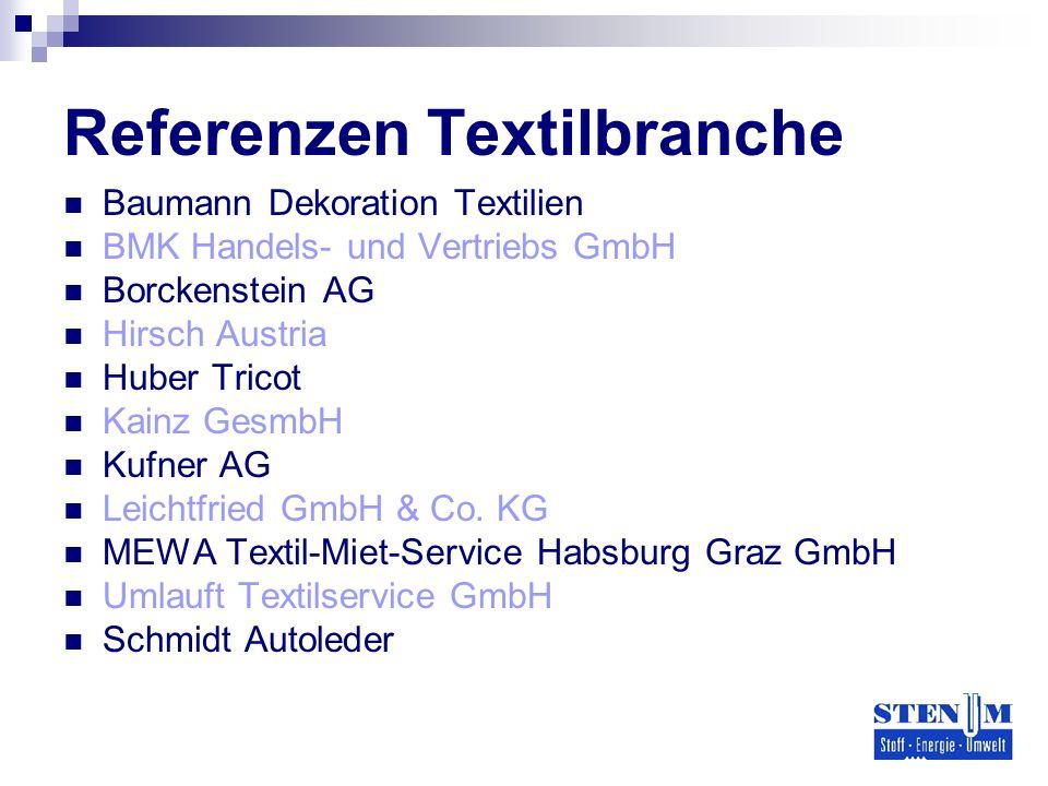 Referenzen Textilbranche Baumann Dekoration Textilien BMK Handels- und Vertriebs GmbH Borckenstein AG Hirsch Austria Huber Tricot Kainz GesmbH Kufner AG Leichtfried GmbH & Co.