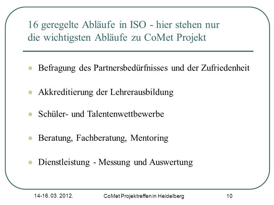 14-16. 03. 2012. CoMet Projektreffen in Heidelberg 10 16 geregelte Abläufe in ISO - hier stehen nur die wichtigsten Abläufe zu CoMet Projekt Befragung