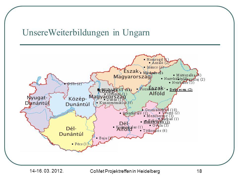 14-16. 03. 2012. CoMet Projektreffen in Heidelberg 18 UnsereWeiterbildungen in Ungarn