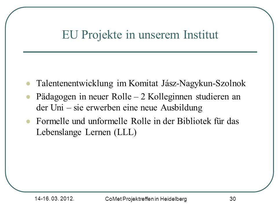 14-16. 03. 2012. CoMet Projektreffen in Heidelberg 30 EU Projekte in unserem Institut Talentenentwicklung im Komitat Jász-Nagykun-Szolnok Pädagogen in