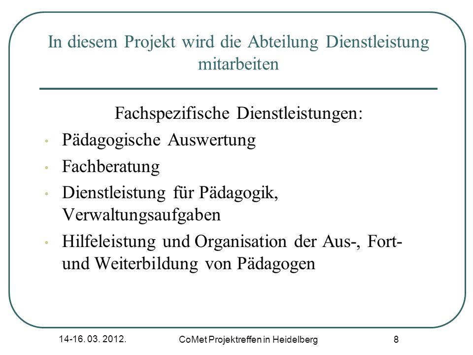 14-16. 03. 2012. CoMet Projektreffen in Heidelberg 8 In diesem Projekt wird die Abteilung Dienstleistung mitarbeiten Fachspezifische Dienstleistungen: