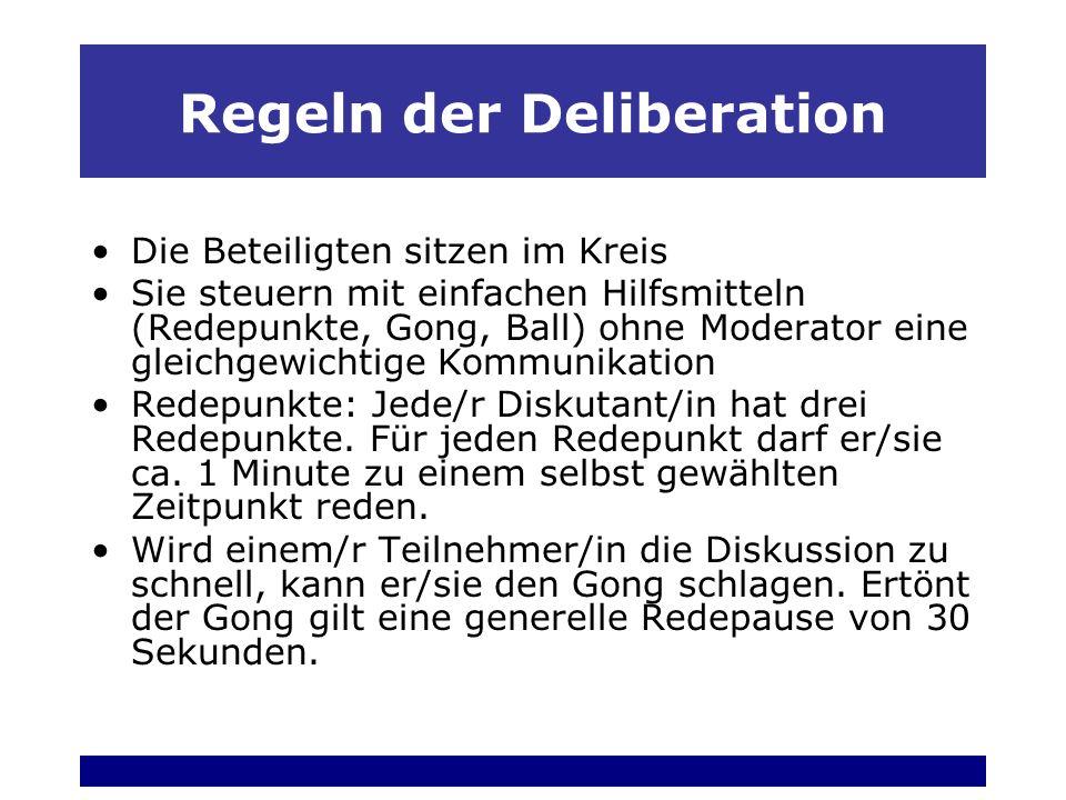 Regeln der Deliberation Die Beteiligten sitzen im Kreis Sie steuern mit einfachen Hilfsmitteln (Redepunkte, Gong, Ball) ohne Moderator eine gleichgewichtige Kommunikation Redepunkte: Jede/r Diskutant/in hat drei Redepunkte.