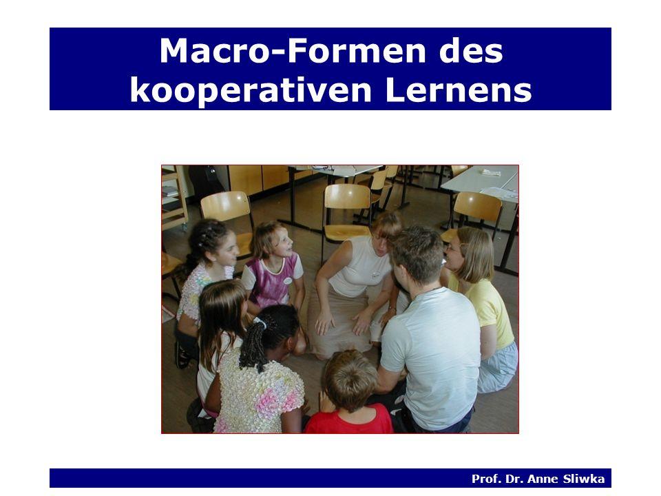 Prof. Dr. Anne Sliwka Macro-Formen des kooperativen Lernens
