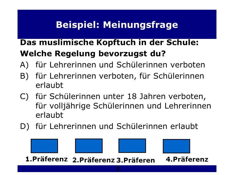 Beispiel: Meinungsfrage Das muslimische Kopftuch in der Schule: Welche Regelung bevorzugst du.