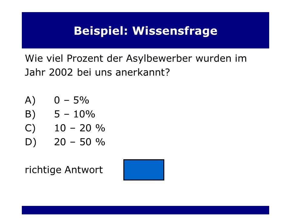 Beispiel: Wissensfrage Wie viel Prozent der Asylbewerber wurden im Jahr 2002 bei uns anerkannt.