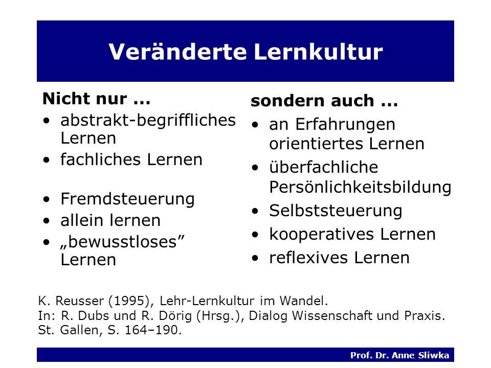 Prof.Dr. Anne Sliwka Veränderte Lernkultur Nicht nur...
