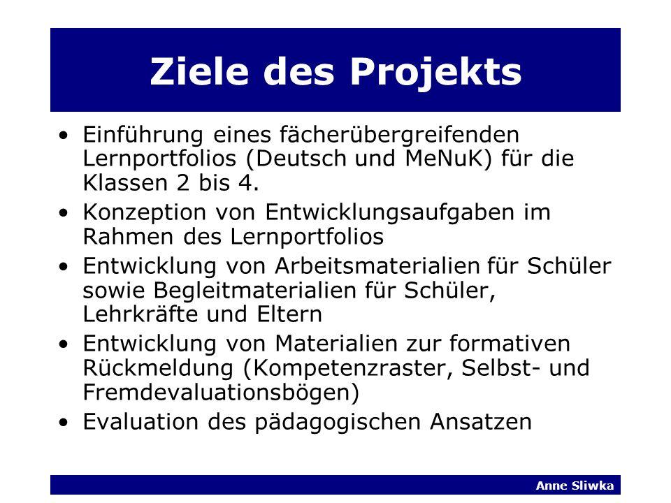 Anne Sliwka Ziele des Projekts Einführung eines fächerübergreifenden Lernportfolios (Deutsch und MeNuK) für die Klassen 2 bis 4.