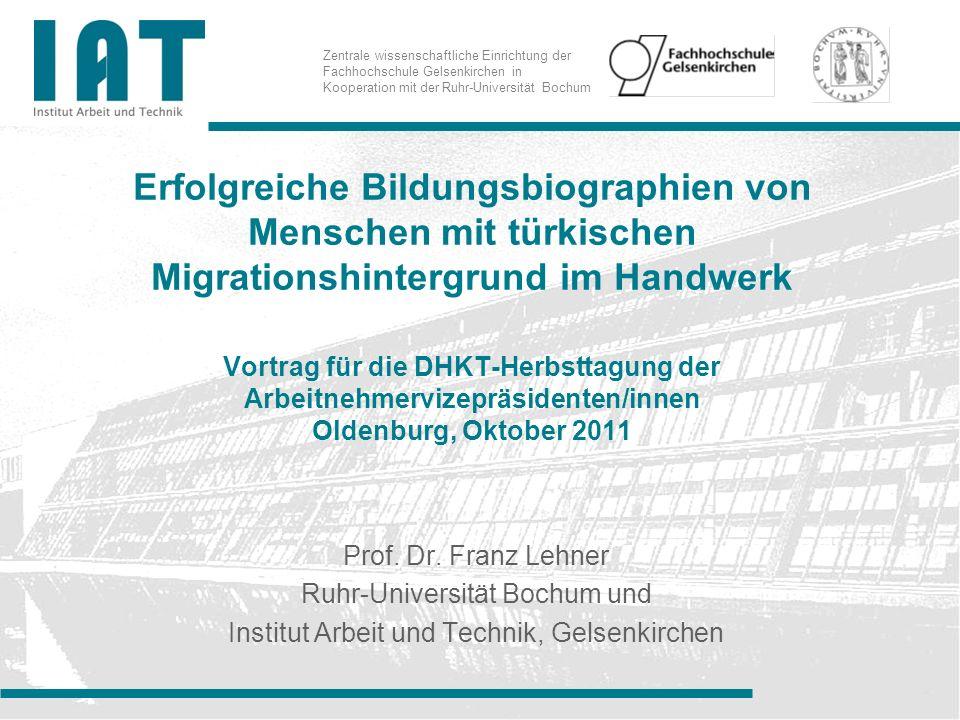 Zentrale wissenschaftliche Einrichtung der Fachhochschule Gelsenkirchen in Kooperation mit der Ruhr-Universität Bochum Erfolgreiche Bildungsbiographie