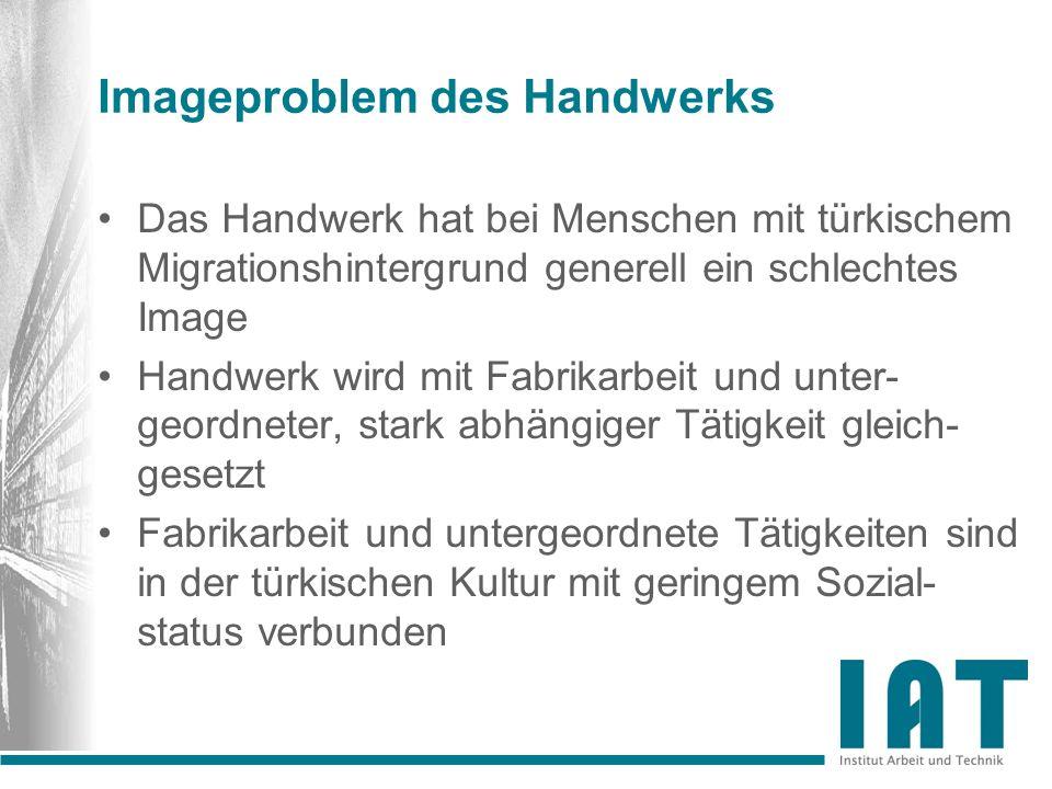 Imageproblem des Handwerks Das Handwerk hat bei Menschen mit türkischem Migrationshintergrund generell ein schlechtes Image Handwerk wird mit Fabrikar