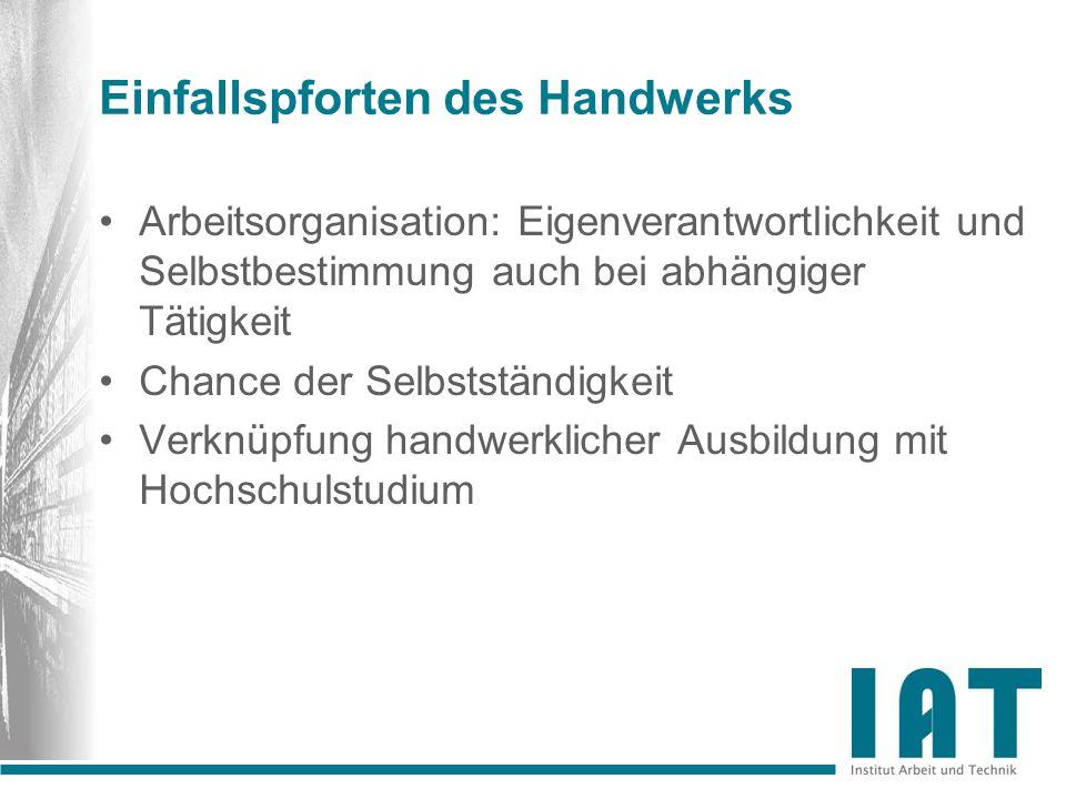 Einfallspforten des Handwerks Arbeitsorganisation: Eigenverantwortlichkeit und Selbstbestimmung auch bei abhängiger Tätigkeit Chance der Selbstständig
