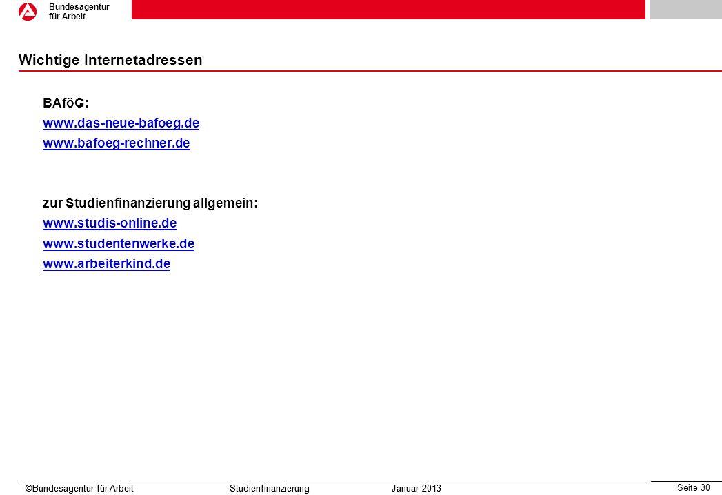 Seite 30 Bundesagentur für Arbeit ©Bundesagentur für Arbeit Studienfinanzierung Januar 2013 Wichtige Internetadressen BAföG: www.das-neue-bafoeg.de ww