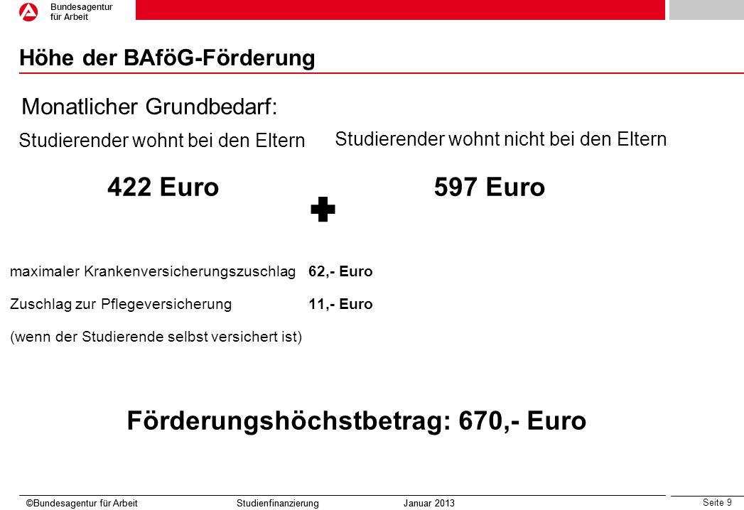 Seite 10 Bundesagentur für Arbeit ©Bundesagentur für Arbeit Studienfinanzierung Januar 2013 BAföG-Förderung ©Bundesagentur für Arbeit Studienfinanzierung Januar 2013 Was ist zu beachten(I): Je nach Einkommen der Eltern und den eigenen Einkommensverhältnissen besteht die Möglichkeit einer gestaffelten Förderung von 10,- Euro bis zum Höchstbetrag von 670,- Euro/Monat.