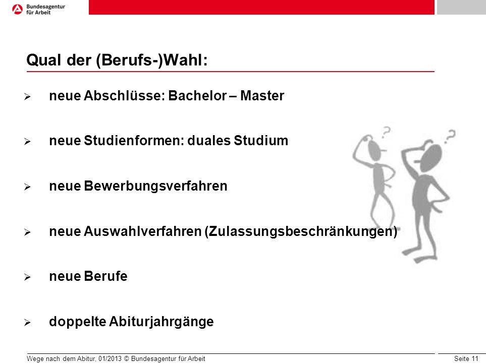Seite 11 Wege nach dem Abitur, 01/2013 © Bundesagentur für Arbeit Qual der (Berufs-)Wahl: neue Abschlüsse: Bachelor – Master neue Studienformen: duale