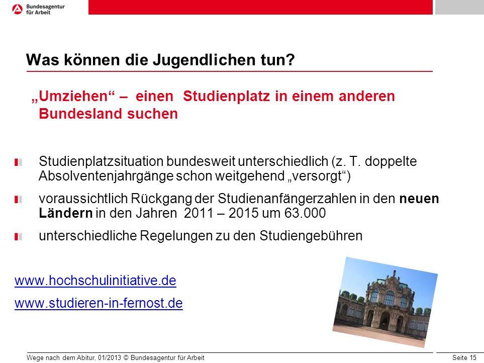 Seite 15 Wege nach dem Abitur, 01/2013 © Bundesagentur für Arbeit Was können die Jugendlichen tun? Umziehen – einen Studienplatz in einem anderen Bund