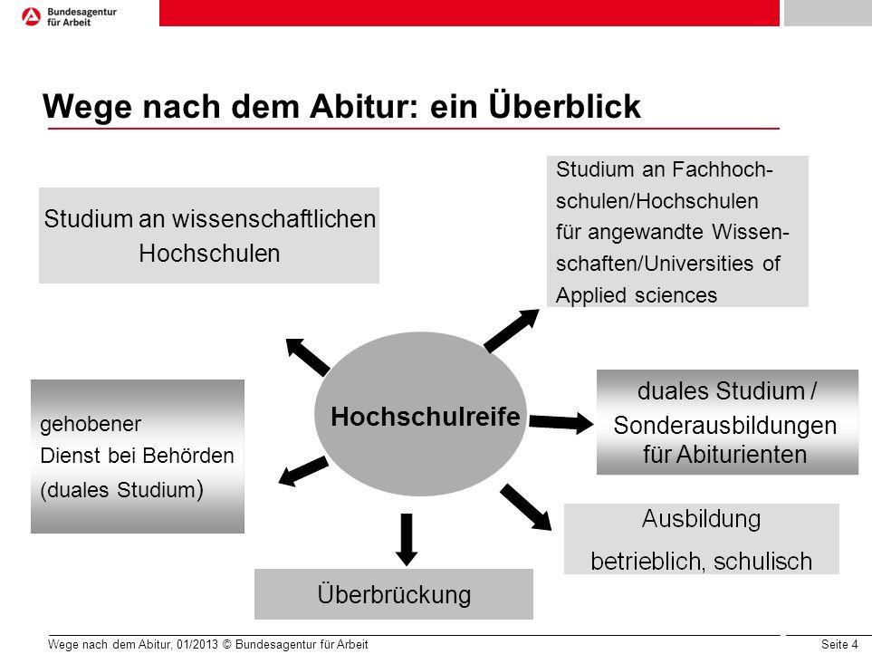 Seite 4 Wege nach dem Abitur, 01/2013 © Bundesagentur für Arbeit Wege nach dem Abitur: ein Überblick gehobener Dienst bei Behörden (duales Studium ) S