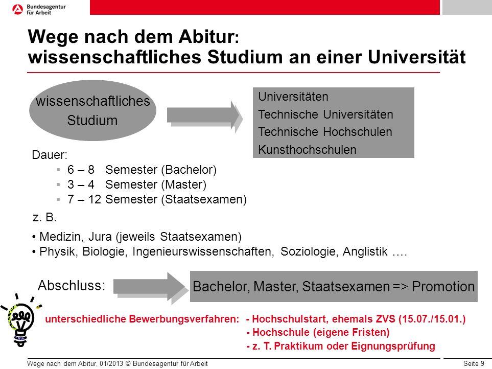 Seite 9 Wege nach dem Abitur, 01/2013 © Bundesagentur für Arbeit Wege nach dem Abitur : wissenschaftliches Studium an einer Universität wissenschaftli