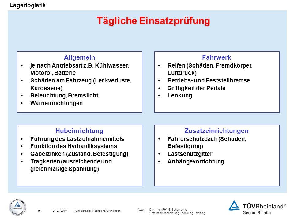 Autor:Dipl. Ing. (FH) G. Schumacher Unternehmensberatung, -schulung, -training 10Gabelstapler Rechtliche Grundlagen25.07.2010 Lagerlogistik Tägliche E
