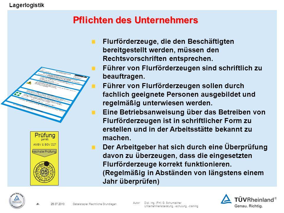Autor:Dipl. Ing. (FH) G. Schumacher Unternehmensberatung, -schulung, -training 11Gabelstapler Rechtliche Grundlagen25.07.2010 Lagerlogistik Pflichten
