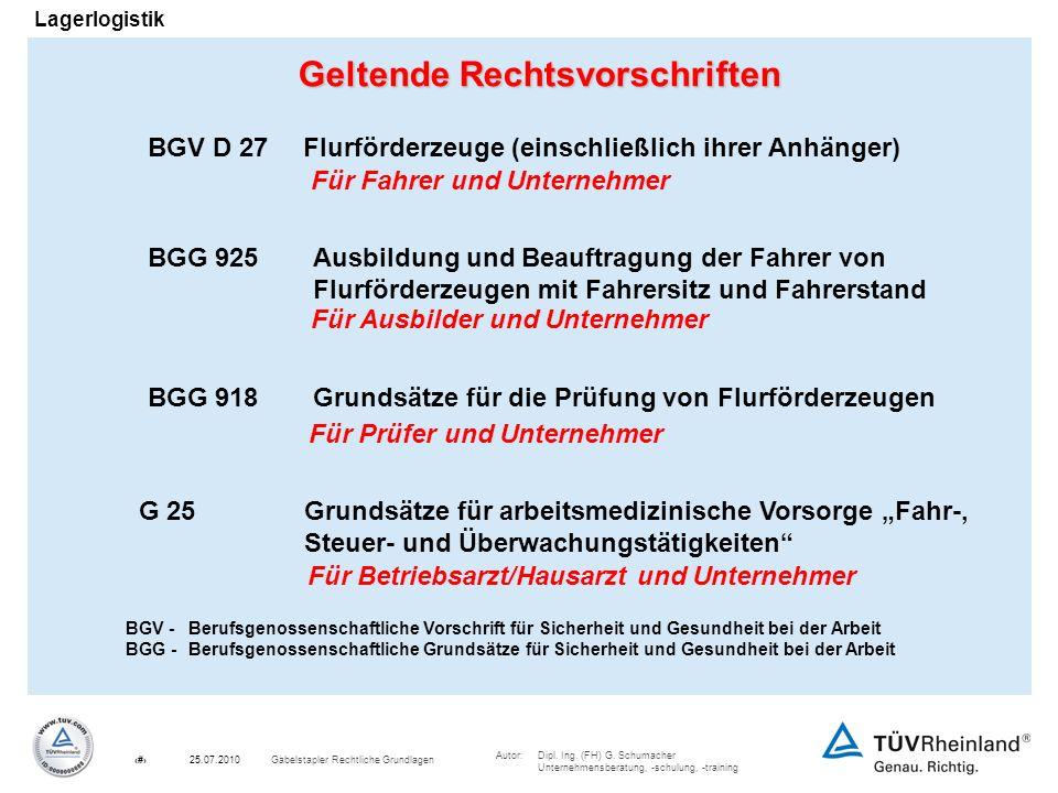 Autor:Dipl. Ing. (FH) G. Schumacher Unternehmensberatung, -schulung, -training 2Gabelstapler Rechtliche Grundlagen25.07.2010 Lagerlogistik Geltende Re