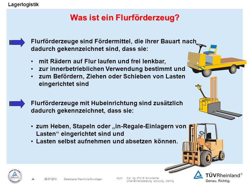 Autor:Dipl. Ing. (FH) G. Schumacher Unternehmensberatung, -schulung, -training 3Gabelstapler Rechtliche Grundlagen25.07.2010 Lagerlogistik Was ist ein