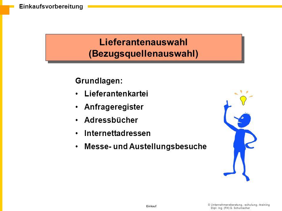 ©Unternehmensberatung, -schulung, -training Dipl. Ing. (FH) G. Schumacher Einkaufsvorbereitung Einkauf Lieferantenauswahl (Bezugsquellenauswahl) Liefe