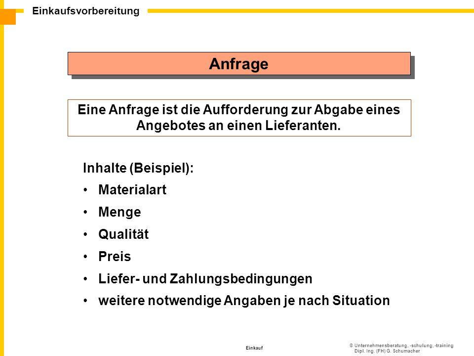 ©Unternehmensberatung, -schulung, -training Dipl. Ing. (FH) G. Schumacher Einkaufsvorbereitung Einkauf Anfrage Eine Anfrage ist die Aufforderung zur A