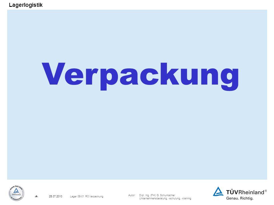 Autor:Dipl. Ing. (FH) G. Schumacher Unternehmensberatung, -schulung, -training 1Lager 06-01 R0 Verpackung25.07.2010 Lagerlogistik Verpackung