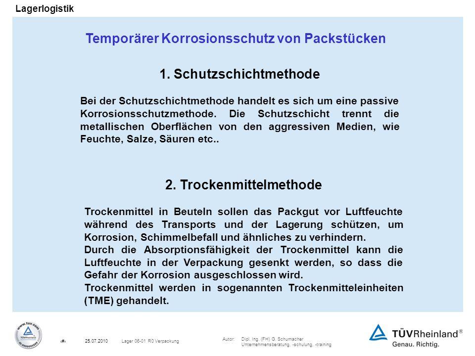 Autor:Dipl. Ing. (FH) G. Schumacher Unternehmensberatung, -schulung, -training 12Lager 06-01 R0 Verpackung25.07.2010 Lagerlogistik Temporärer Korrosio