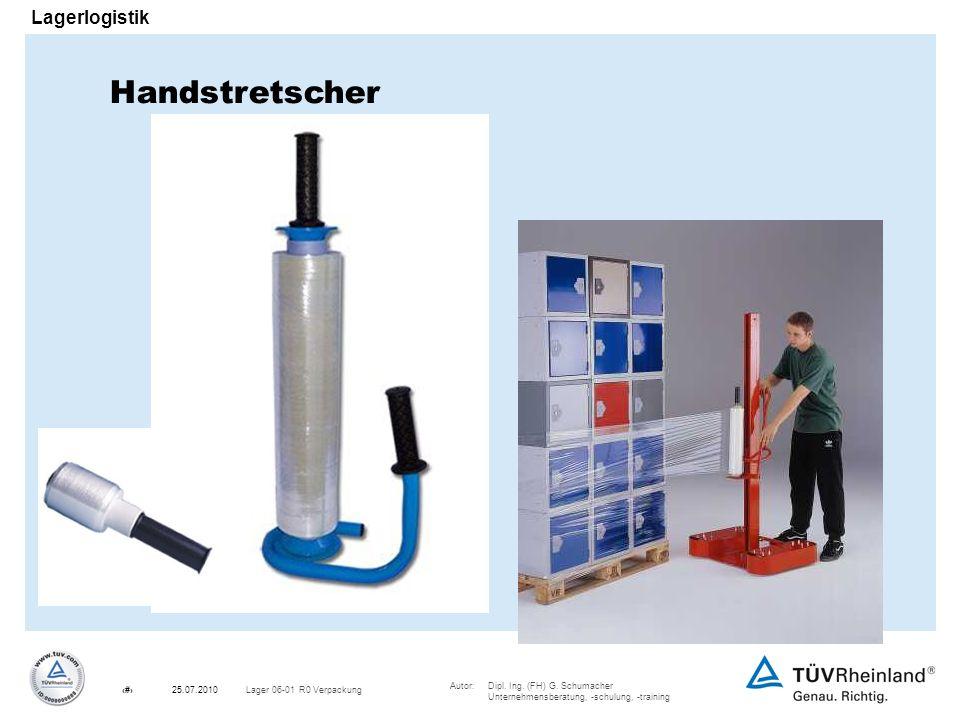 Autor:Dipl. Ing. (FH) G. Schumacher Unternehmensberatung, -schulung, -training 15Lager 06-01 R0 Verpackung25.07.2010 Lagerlogistik Handstretscher